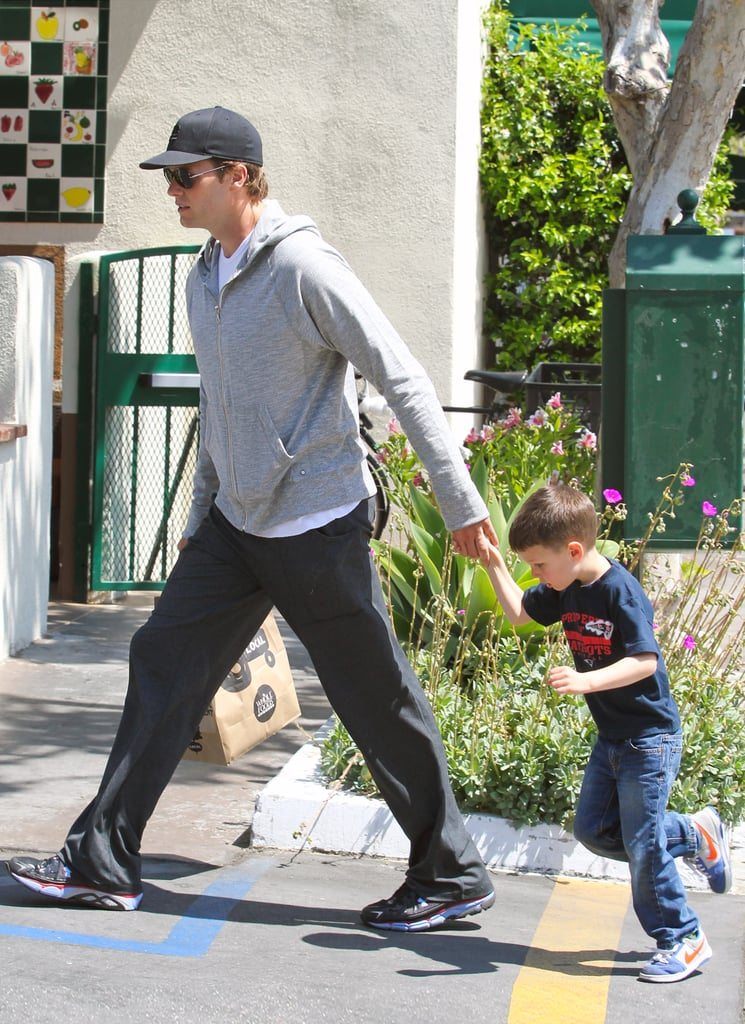 Tom Brady led the way with Jack Moynahan in tow after a trip to Whole Foods Market.