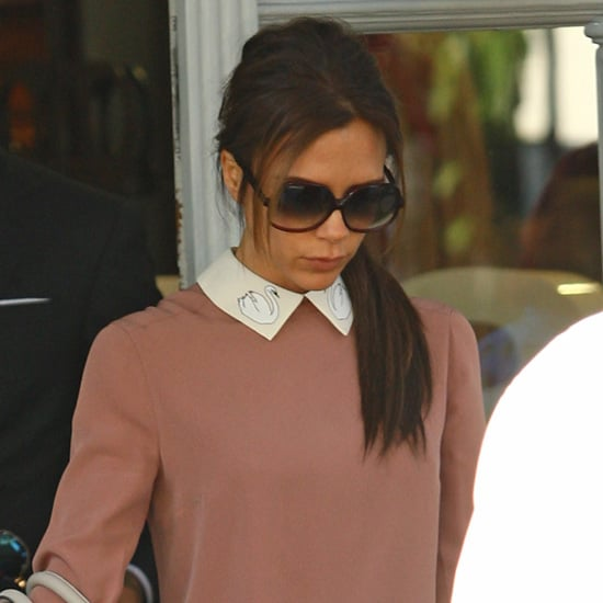 Victoria Beckham Wearing Contrast-Collar Dress