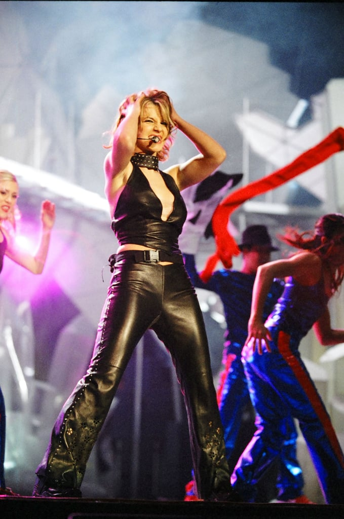 Britney Spears was in all black on the stage at the 1999 MTV Europe Music Awards.