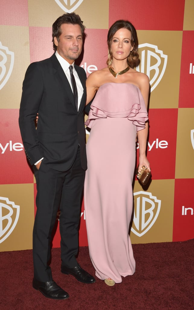 Kate Beckinsale stood out in a romantic ruffle-infused strapless gown in the girliest shade of pink. The best part, though? Her slightly edgier gold collar necklace.