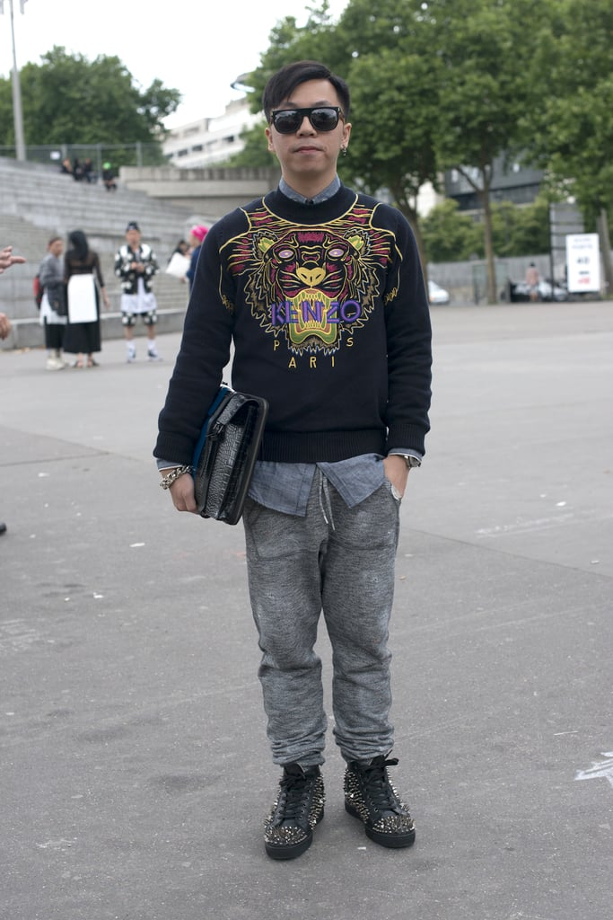 The Kenzo tiger made a fierce, multicolored showing on a sweater in Paris.