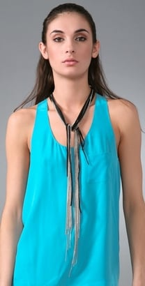The Look For Less: Cynthia Dugan Jewelry Silver & Leather Scarf Necklace