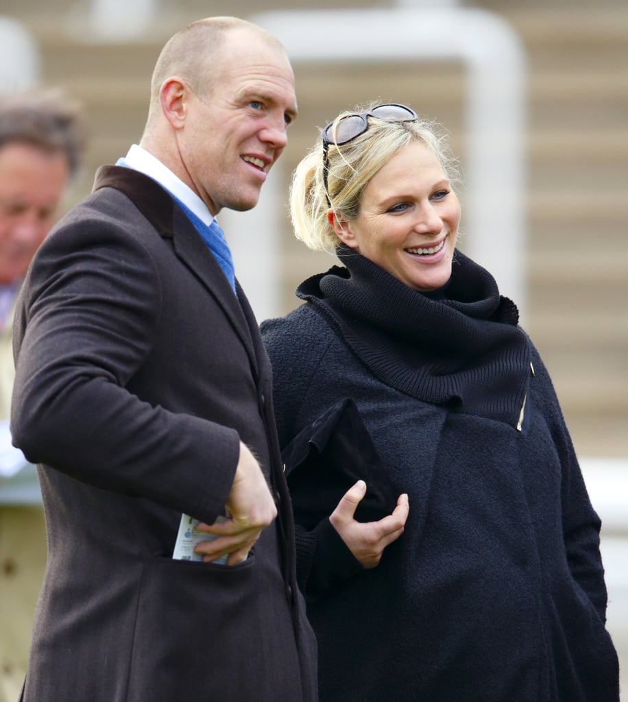 A pregnant Zara and her husband, Mike, checked out a sporting event in December 2013.