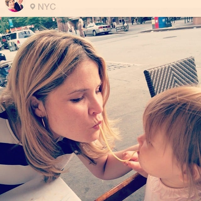 Jenna Bush Hager shared a string of spaghetti with her daughter, Mila. Source: Instagram user jennabhager