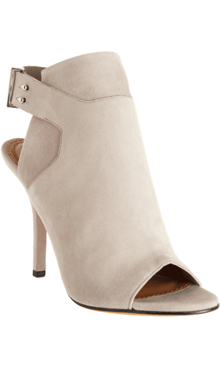 The ultrachic addition to any of our looks — these are the kind of shoes that make an outfit all on their own, but we think they'll look particularly on-point with a leather pencil skirt and a slouchy tee.  Givenchy Peep Toe Ankle Strap Booties ($995)