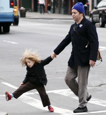 Wild James Pulls Daddy Matthew Along For a Stroll