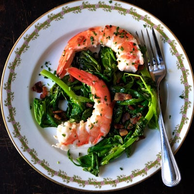Fast and Easy Recipe For Pea Shoots With Shrimp