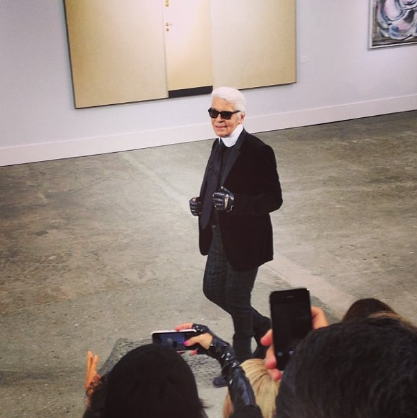 The master does it again! Karl Lagerfeld smiles for his adoring fans after the Chanel finale. Source: Instagram user popsugarfashion