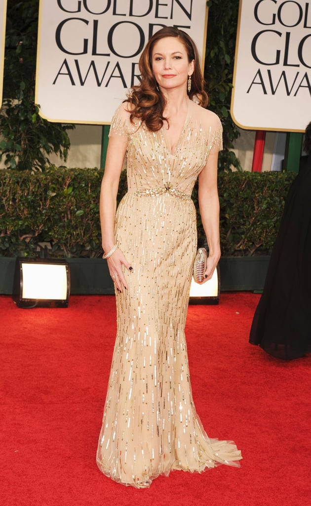 Diane Lane wore a gold Reem Acra gown covered in gilded sequins. The sparkly embellishments boosted her Old Hollywood vibe to megawatt star.