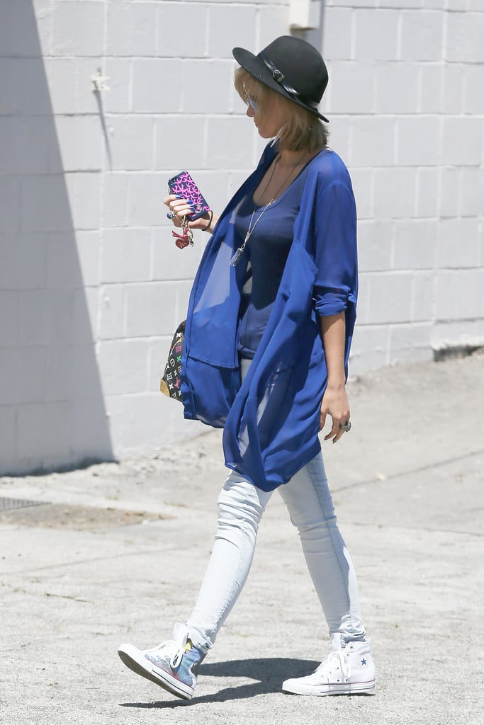 Delta Goodrem revealed a new haircut when she hit the streets of Los Angeles on April 9.