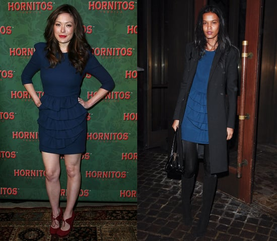 Actress Lindsay Price and Model Liya Kebede Both Wear Phillip Lim's Navy Ruffle Dress