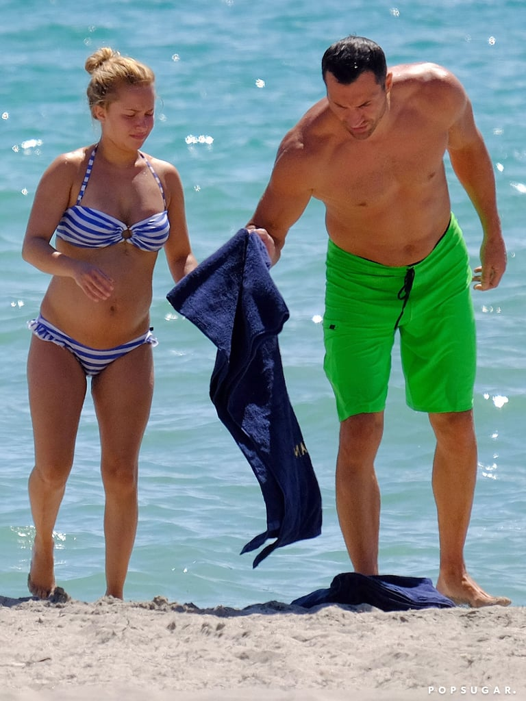 A bikini-clad Hayden Panettiere and her fiancé Wladimir Klitschko headed to the beach in Miami.