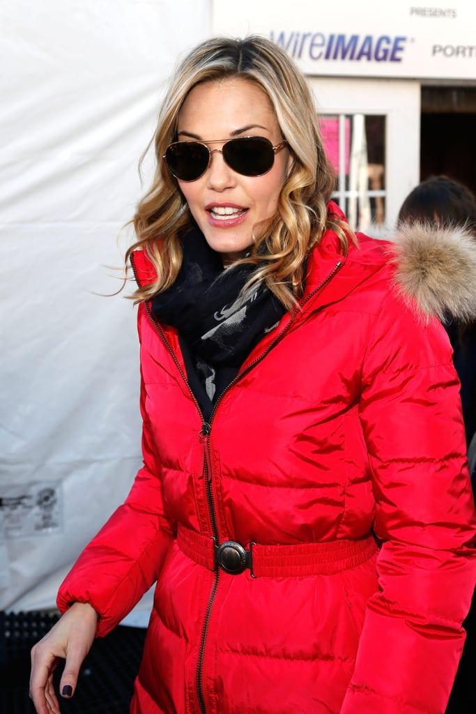 Leslie Bibb's fiery Coach puffer ($598) was equal parts toasty and bold.
