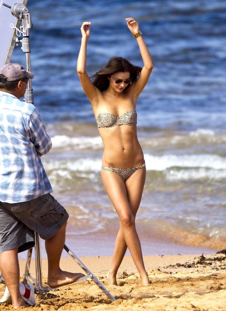 Miranda threw her hands up during an August 2012 photo shoot in Sydney, Australia.