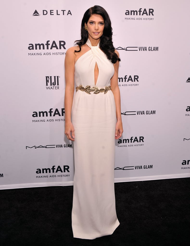 Ashley Greene channeled a Grecian-goddess vibe at amfAR in a white, keyhole-cutout Giambattista Valli Resort '13 gown.