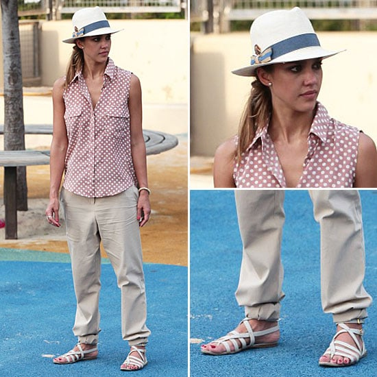 Jessica Alba Wearing Polka-Dot Shirt