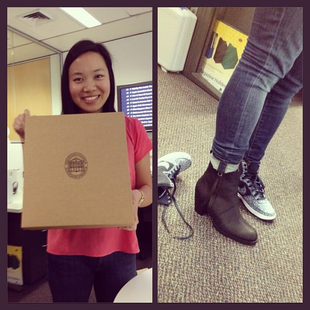 Check out that smile! Jess was very happy to receive her Acne boots.