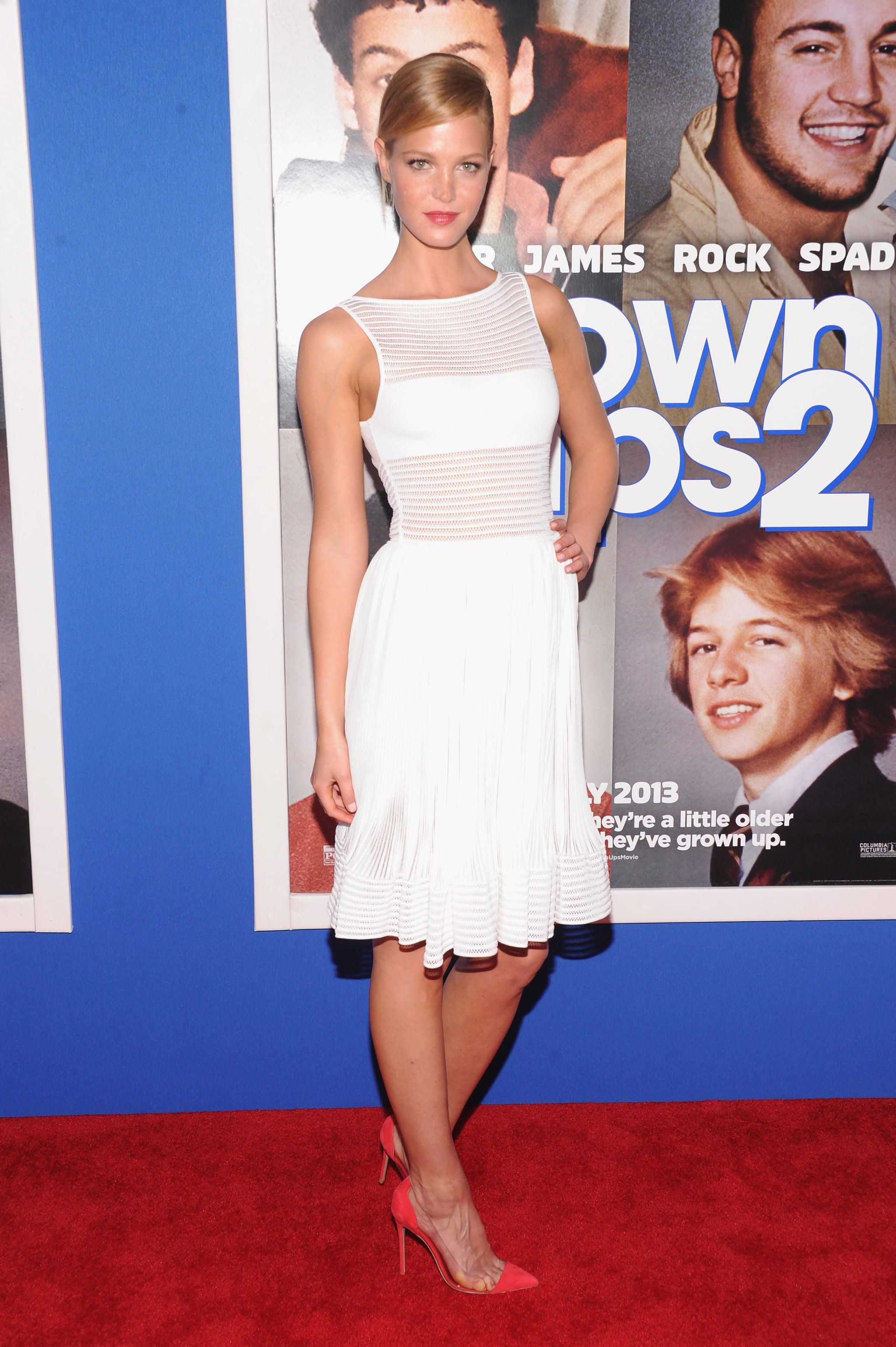 A white hot Erin Heatherton walked the Grown Ups 2 red carpet in her illusion cocktail dress.