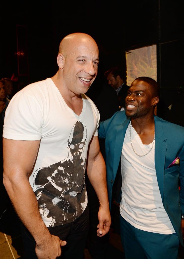 Vin Diesel laughed with Kevin Hart backstage.