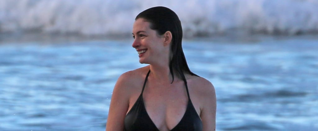 Anne Hathaway Shows Off Her Baby Bump During a Sunset Swim