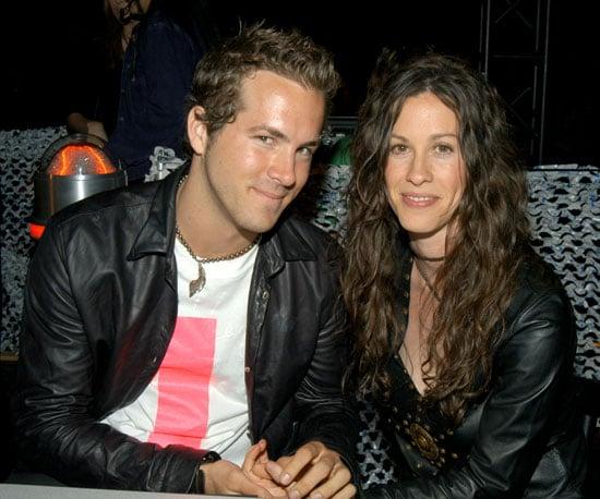 In 2003, Ryan Reynolds and then girlfriend Alanis Morissette held hands backstage.