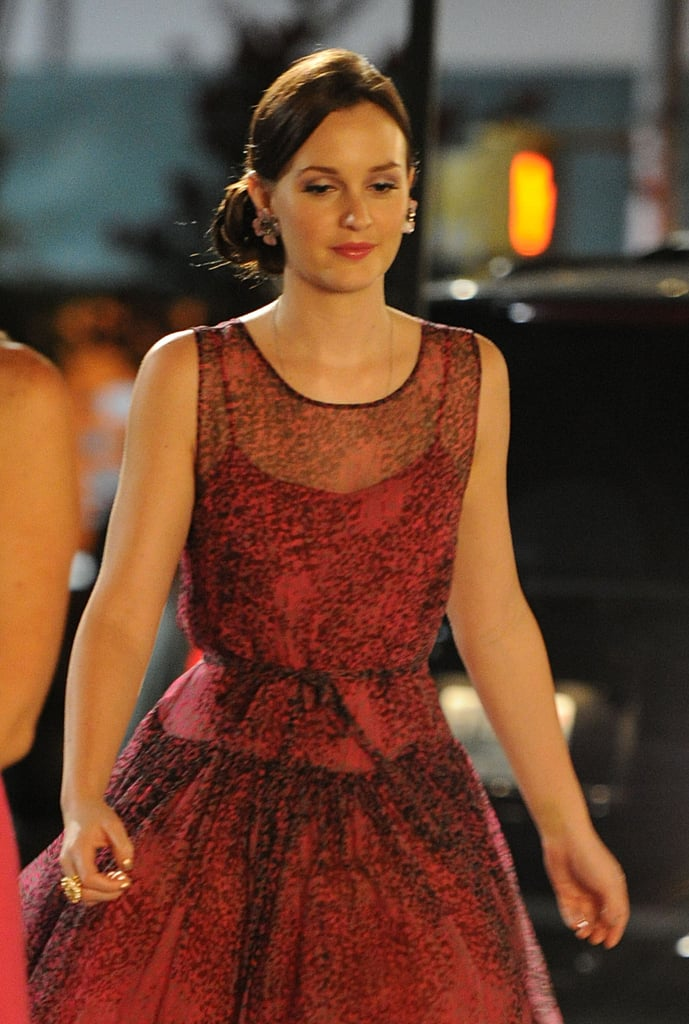 Leighton Meester wore a low side bun while shooting Gossip Girl.