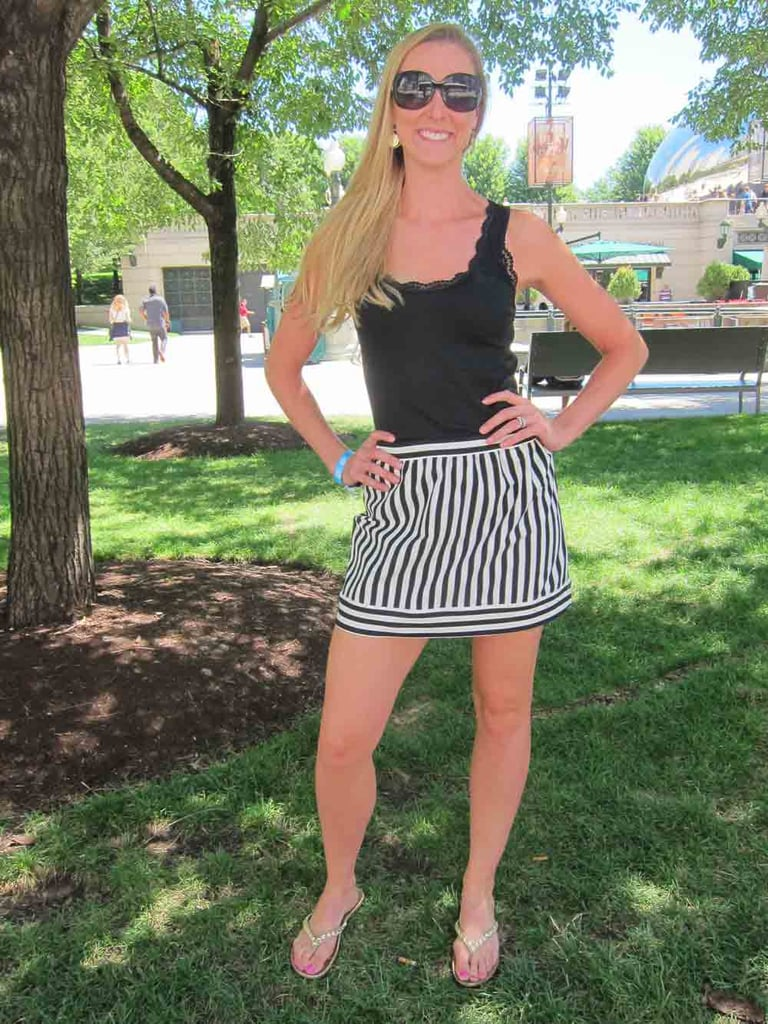 Ashley bucked tradition and brought some Parisian style to Chicago with a black-and-white-striped skirt that she picked up in Paris.
