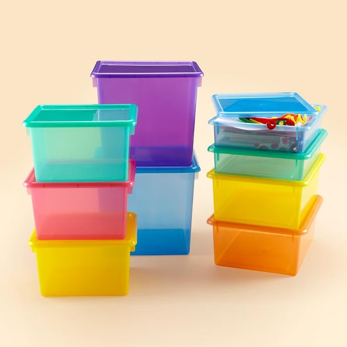 Labeled Translucent Plastic Containers With Lids