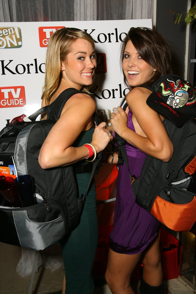 Lauren Conrad and Audrina Patridge threw on backpacks at a December 2006 party in LA.