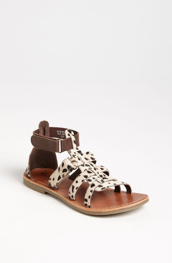 Kickers' Djibouti sandals ($80) feature genuine spotted calf hair and an on-trend gladiator style.