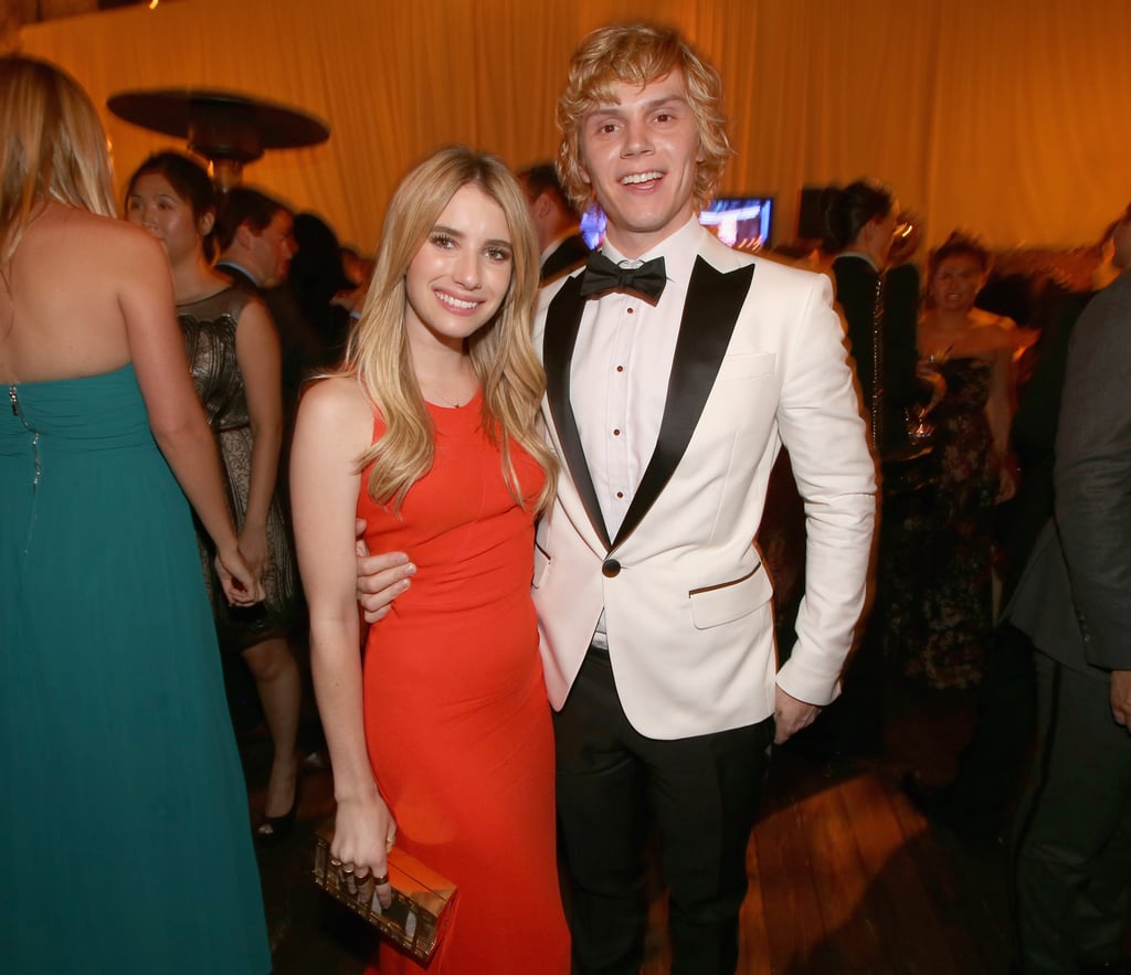 Emma Roberts and Evan Peters cuddled up at the Fox after party.