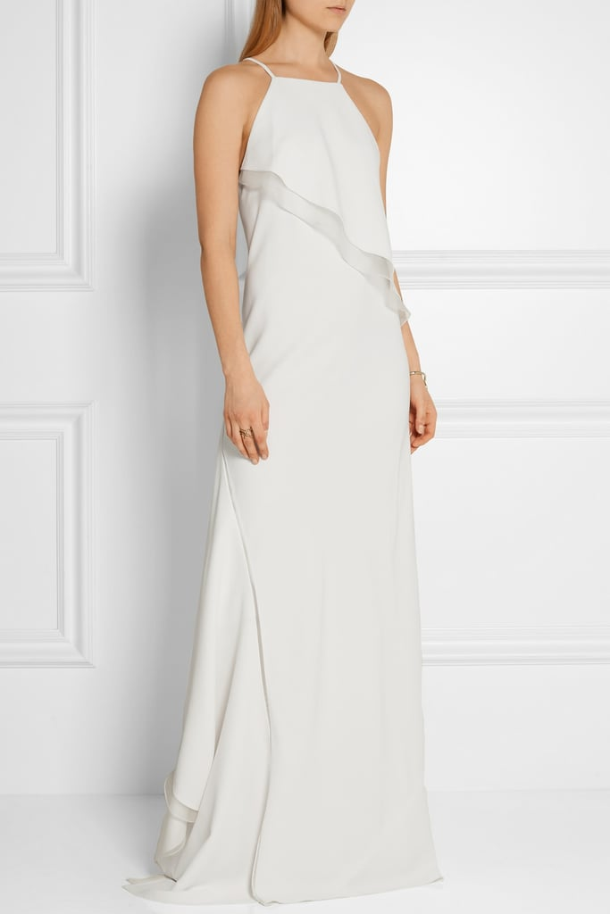 Jason Wu Asymmetric silk-organza trimmed stretch-cady gown ($2,795)