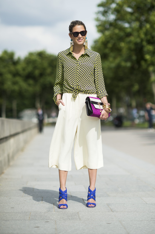 We can't get enough of her breezy culottes or hot heels. Source: Le 21ème | Adam Katz Sinding