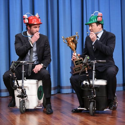 Liam Hemsworth's Cooler Scooter Race With Jimmy Fallon