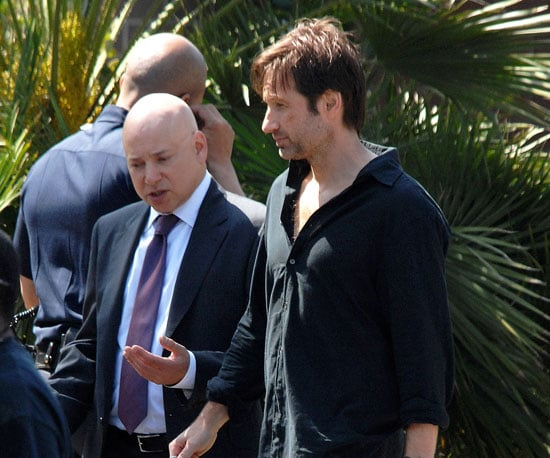 Slide Picture of David Duchovny and Evan Handler Filming Californication