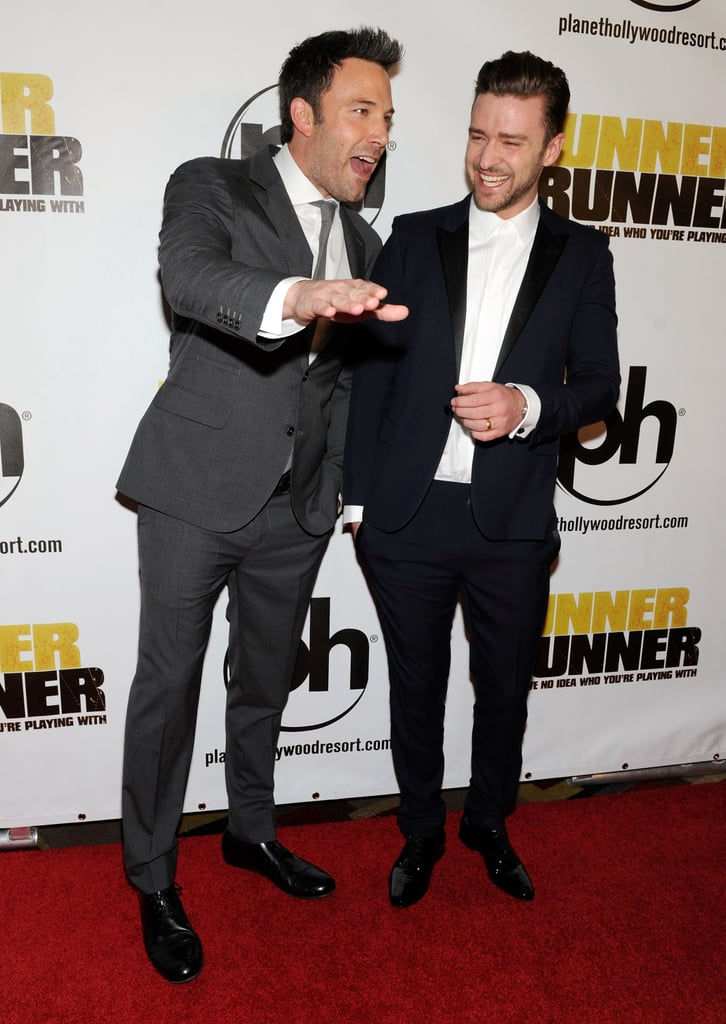 """Justin Timberlake and Ben Affleck teamed up to film Runner Runner, and even though Ben revealed that he hated working with Justin, it was only because he was so overwhelmed by Justin's immense talent: """"He's so bad for your self-esteem. There's nothing the guy can't do!"""" He went on to say, """"He can dance like Michael Jackson, he sings, he writes music . . . 400 million boy bands, and he's the one guy that became a gigantic star."""""""