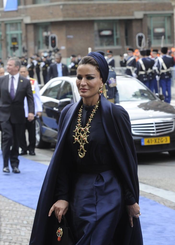 Sheikha Mozah bint Nasser Al Missned of Qatar arrived at the inauguration.