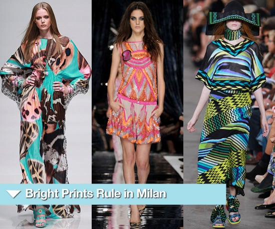 Catwalk Photos of Bright Coloured Prints at Milan Fashion Week Spring 2011