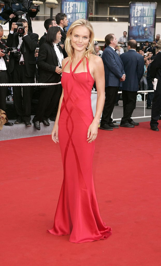 Kate looked ravishing in a red body-hugging Christian Dior gown at the 2004 premiere of Troy at the Cannes Film Festival.