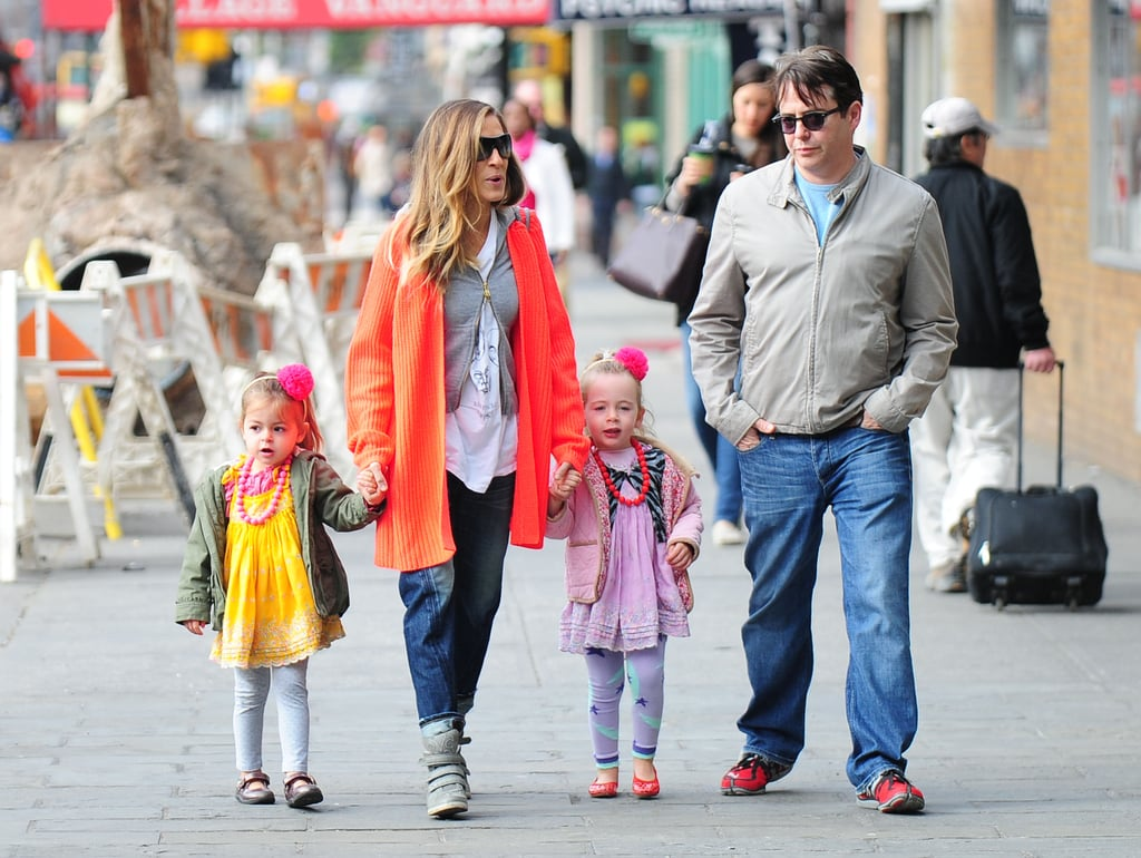 Sarah Jessica Parker and Matthew Broderick took their twin daughters, Tabitha and Loretta, to school in NYC.