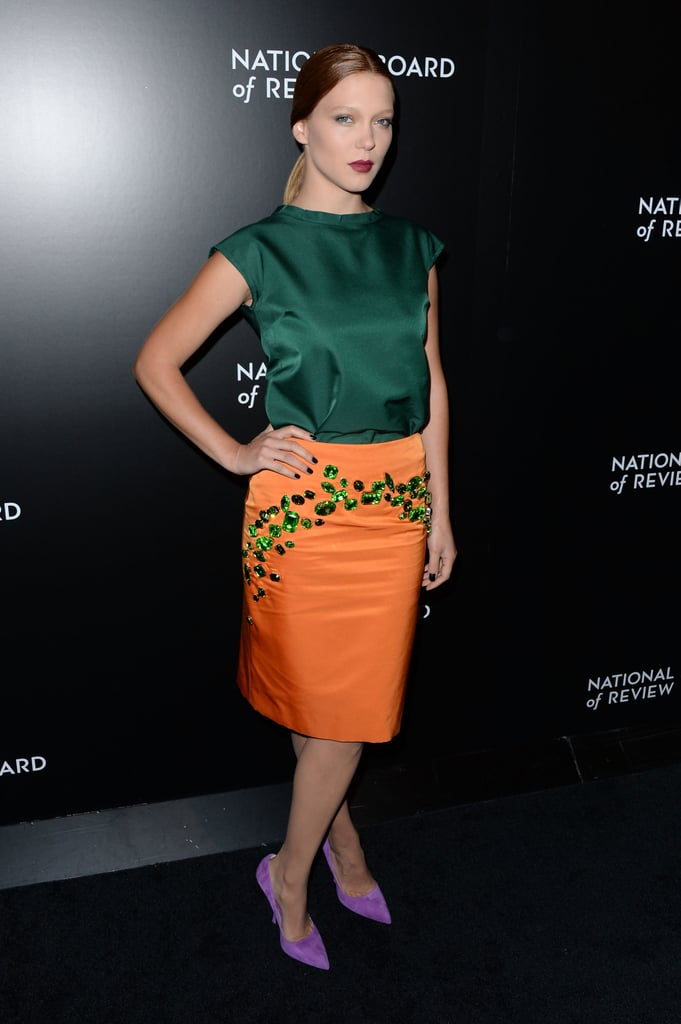 With a color palette this bold, Léa Seydoux clearly wasn't afraid to have all eyes on her and her Prada ensemble at the National Board of Review Awards Gala.