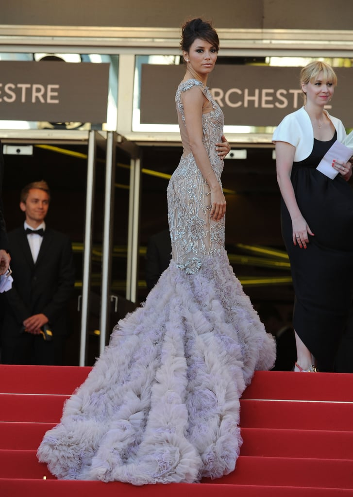 The rich tulle train of Eva's Marchesa gown was no joke — we have to give props to the starlet for making it gracefully up the stairs.