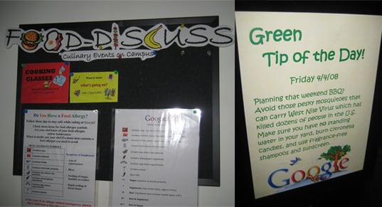 Not only does Google offer employees the chance to participate in informative food events, cooking classes, and wine tastings, they also provide daily tips for green living!