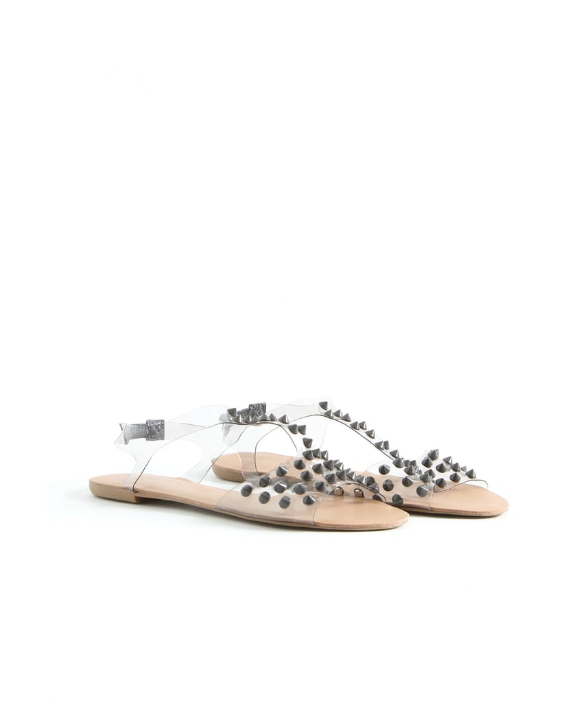 The clear plastic straps and stud accents on this Missguided pair ($32) make for one stylish optical illusion.