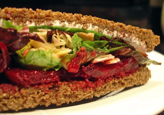 Recipe For Roasted Beet Sandwich With Avocado, Goat Cheese, and Toasted Almonds