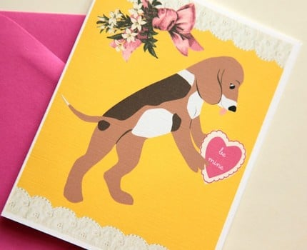 puppy love valentine's day card by cutiepiecompany ($4.25)