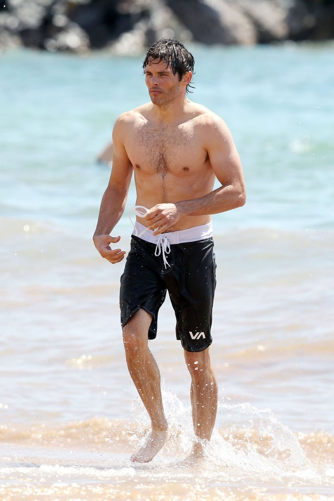 James Marsden jogged out of the water after taking a dip in Hawaii.
