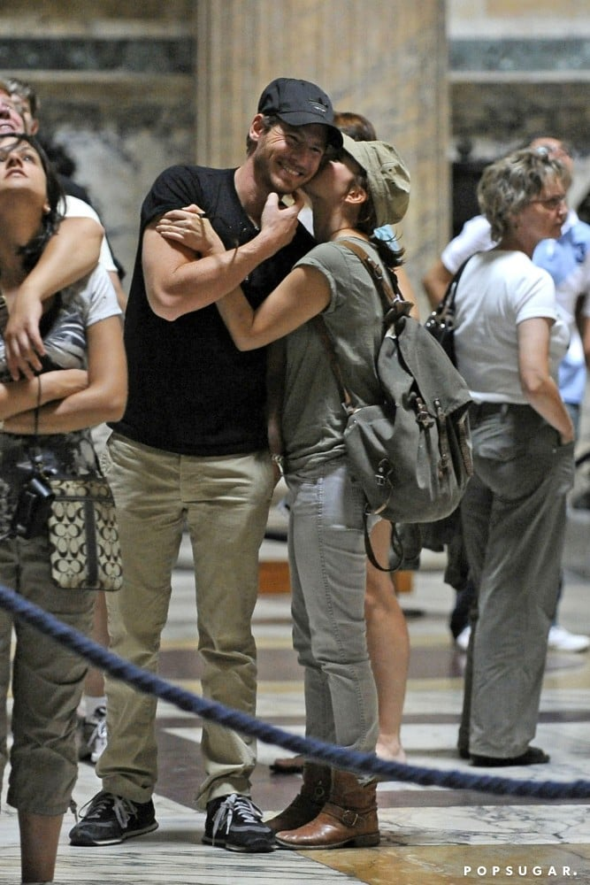 They shared a sweet kiss inside Rome's Pantheon during a September 2011 trip to Italy.