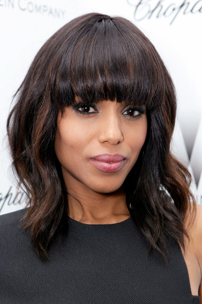 Even with heavy bangs, Kerry Washington proved that a smouldering smoky eye with black liner and shades of grey makes a strong beauty statement.
