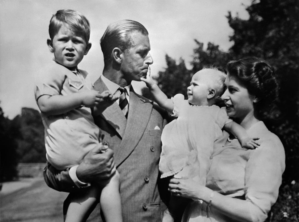 The royal couple with two of their children, Prince Charles and Princess Anne, in 1951.